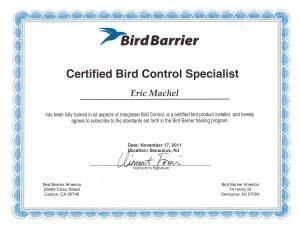Certified Bird Barrier Specialist